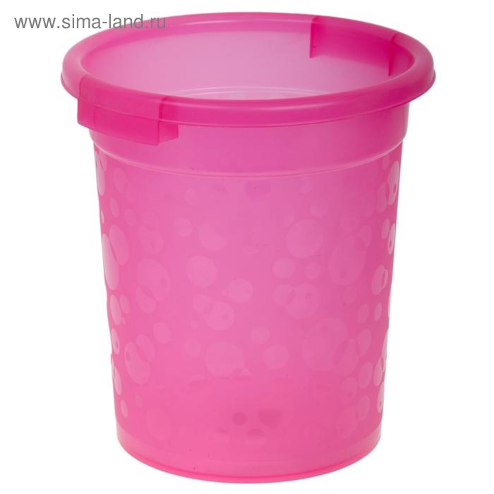 "Ведро для мусора 27*27*30 см ""Горошки"" прозрачное, цвета МИКС"