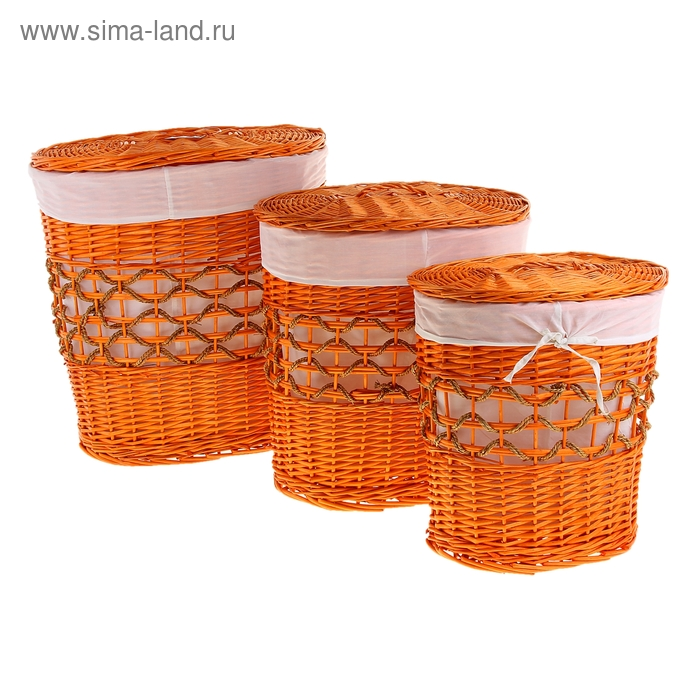 Корзина для белья овальная, оранжевая