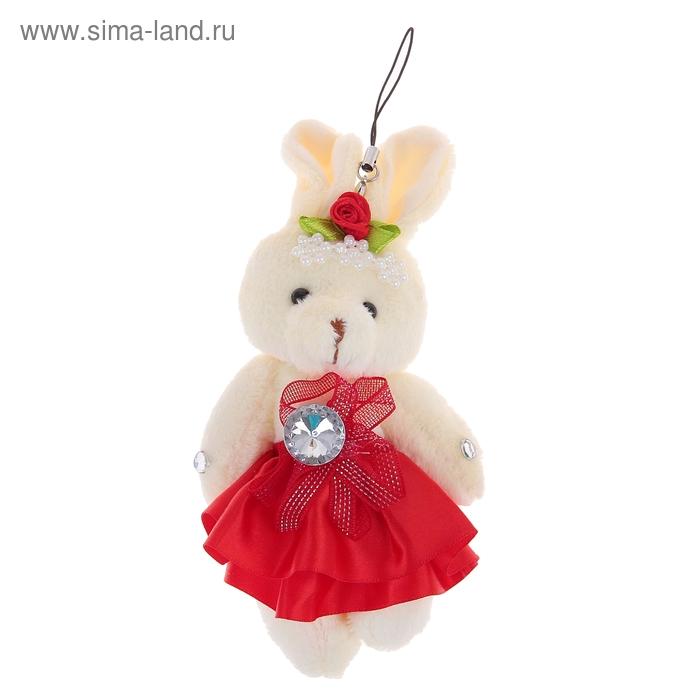 """Мягкая игрушка-подвеска """"Зайка"""", юбочка с бантом, цвет красный"""