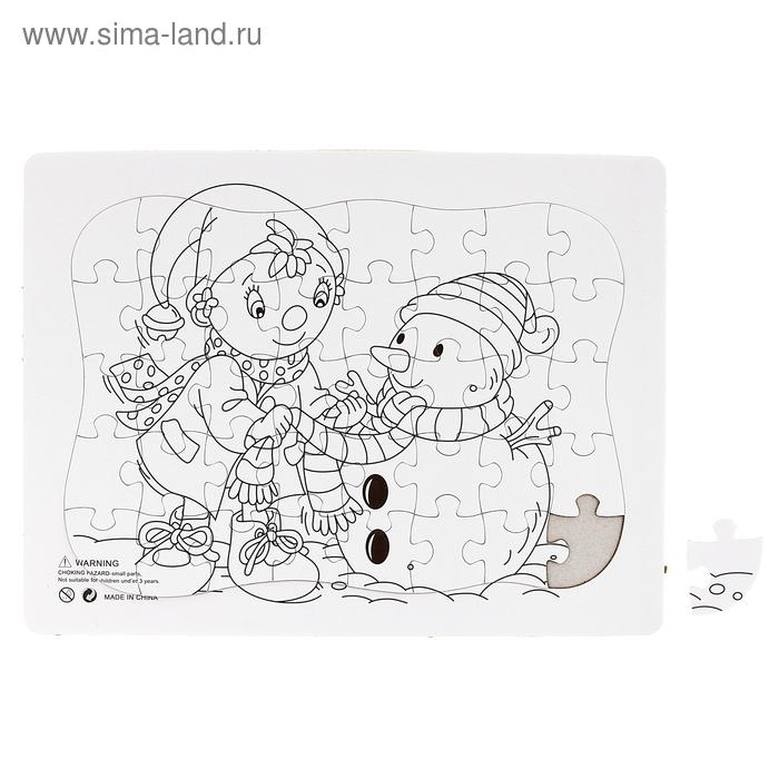 "Раскраска-пазл ""Снеговик"" картинка 40 элементов"