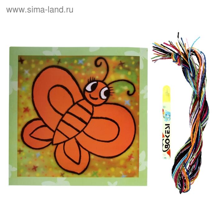 """Аппликация """"Бабочка"""" из бумажных нитей"""