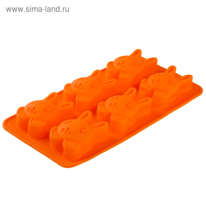 "Форма для выпечки, 6 ячеек, 26х14,5х2,5 см ""Заяц"", цвета МИКС"