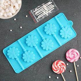 Форма для леденцов и мороженого 'Ромашка', 6 ячеек, палочки в комплекте, цвета МИКС Ош