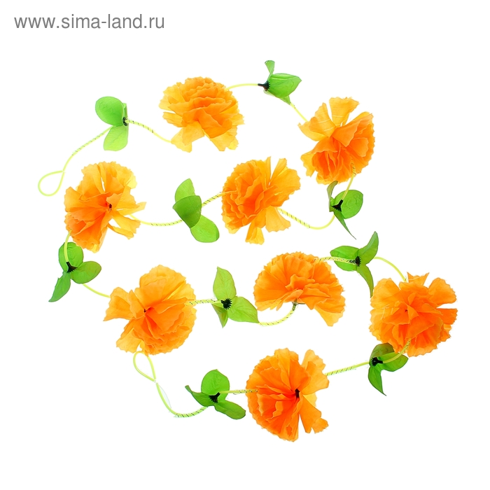 "Гавайская гирлянда ""Цветы"", цвет оранжнвый"