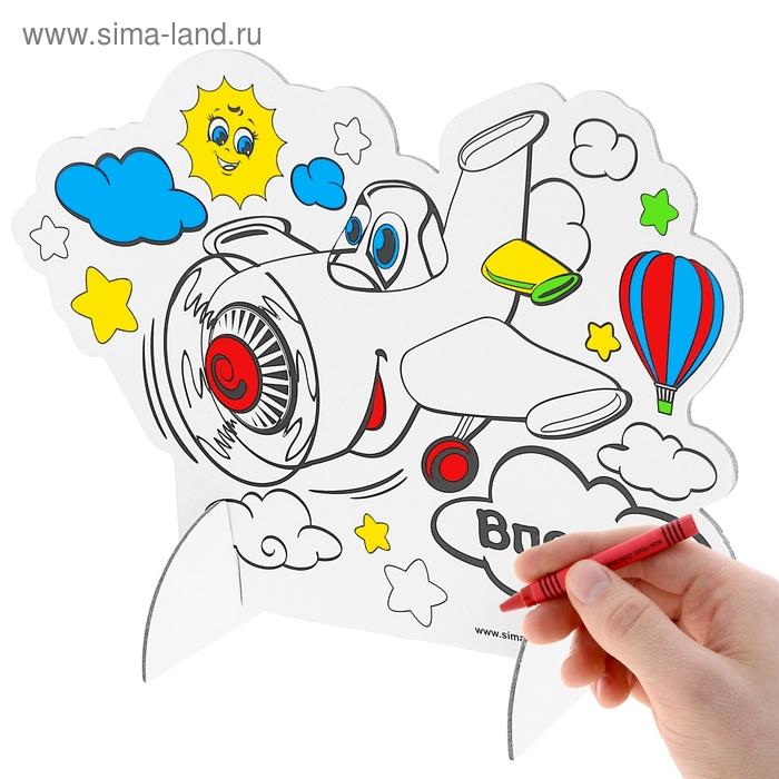 """3D-раскраска """"Самолетик"""" и 6 восковых карандашей"""