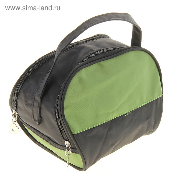 """Косметичка-сумочка """"Два цвета"""", 1 отдел на молнии, цвет чёрно-зелёный"""