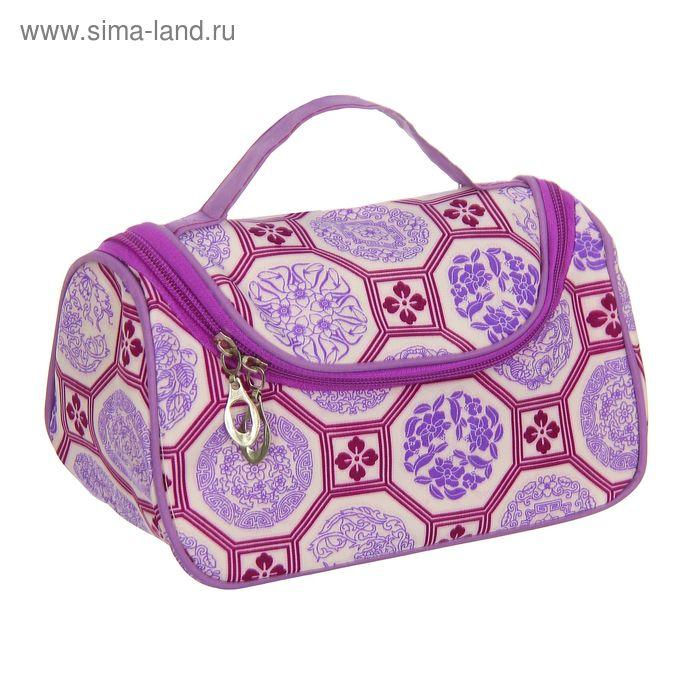 "Косметичка-сумочка ""Арабия"", 1 отдел на молнии, с зеркалом, цвет сиреневый"