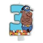 """Свеча в торт """"Медведь"""" цифра """"3"""""""