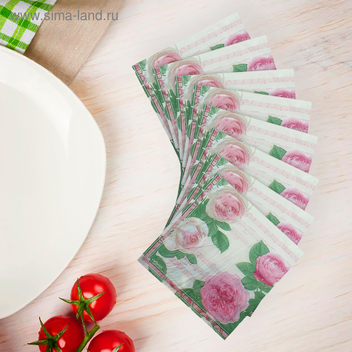 """Салфетки бумажные (набор 20 шт) 33*33 см """"Розовый куст"""""""