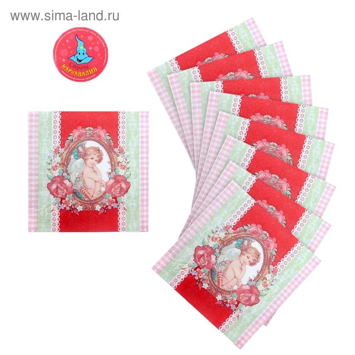 """Салфетки бумажные (набор 20 шт) 33*33 см """"Цветущая любовь"""""""