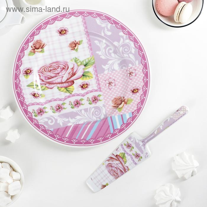 """Набор для торта 2 предмета """"Розовая каемочка"""", d=27 см"""