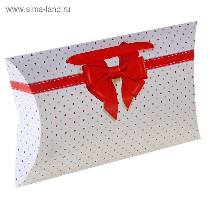 """Коробка-подушка складная """"Красный бант"""", цвет белый"""