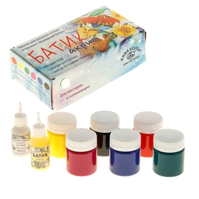 "Краска для ткани акриловая набор 6 цветов *40мл Аква-Колор ""Батик"" +резерв 18мл +контур 18мл"