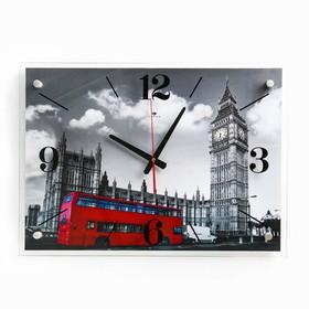 """Часы настенные прямоугольные """"Лондон"""", стекло, 40х56 см микс"""
