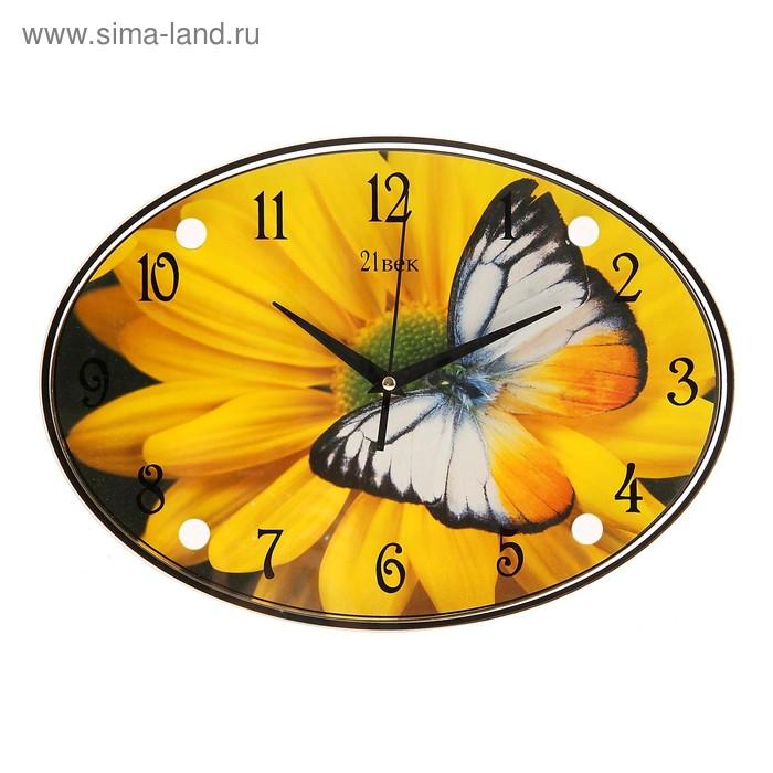 "Часы настенные овальные ""Цветок с бабочкой"", 24х34 см"