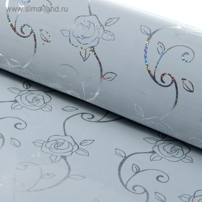 """Бумага голографическая """"Розочки"""", цвет белый"""