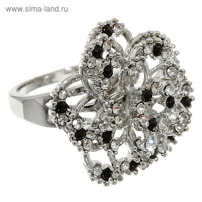 """Кольцо """"Цветок"""" нарцисс, цвет чёрно-белый в серебре, размер МИКС"""