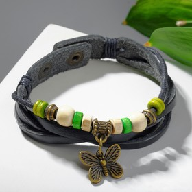 """Браслет кожа """"Бабочка малая"""" хиппи, цвет коричнево-зеленый"""