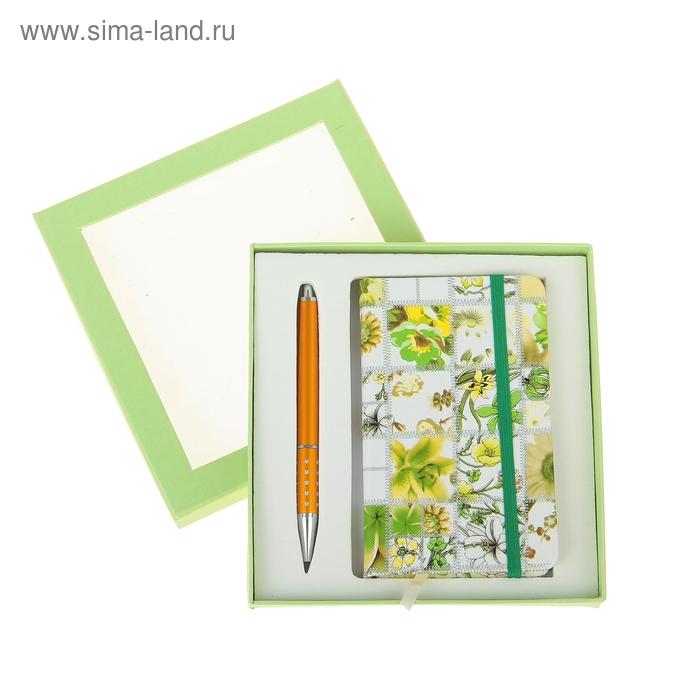 Набор подарочный 2в1 в карт.коробке (ручка+блокнот, 96стр) зеленый