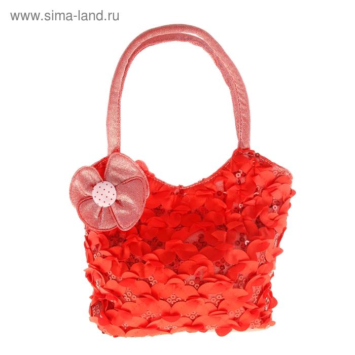 """Сумка детская """"Алиса"""", 1 отдел на молнии, МИКС цветков, цвет красный"""