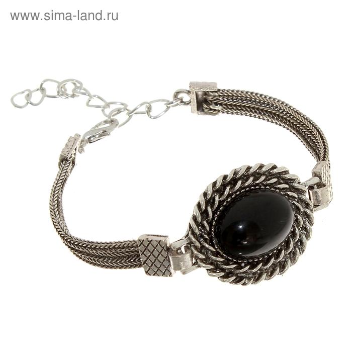 """Браслет-ассорти """"Афродита"""", цвет чёрный в черненом серебре"""