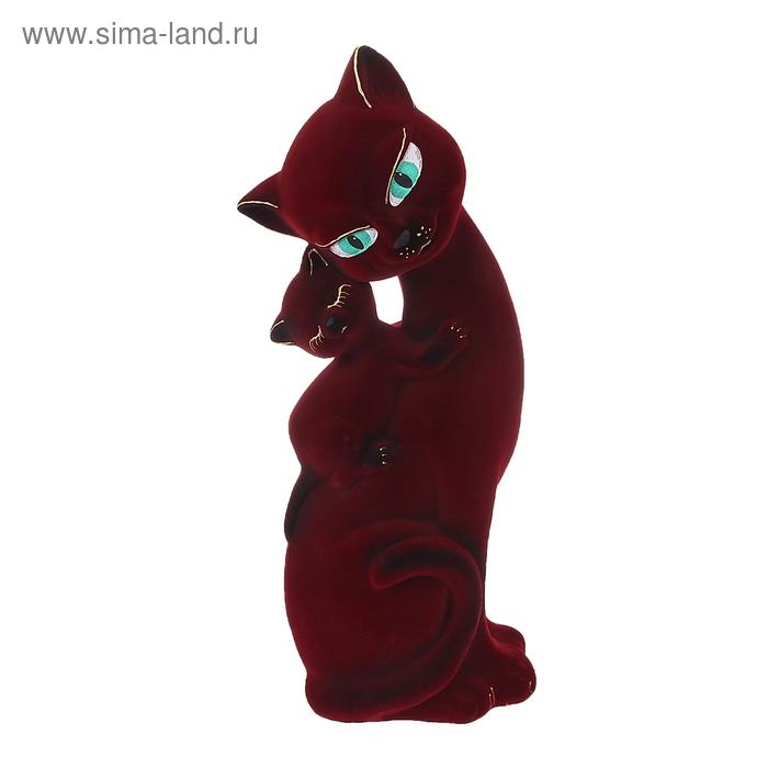 "Копилка ""Кошка Саманта с котёнком"" флок, бордовая"