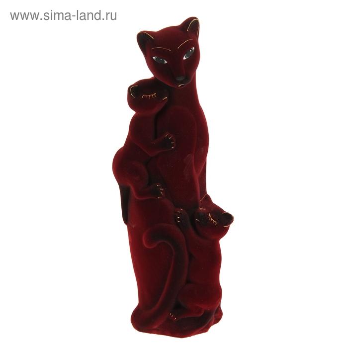 """Копилка """"Багира с котятами"""" флок, бордовая"""