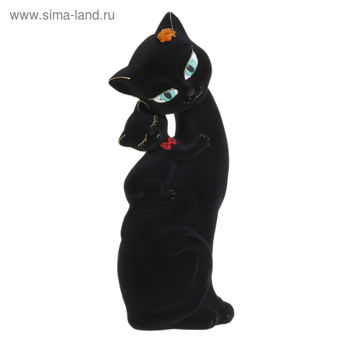 "Копилка ""Кошка Саманта с котёнком"" флок, чёрная"