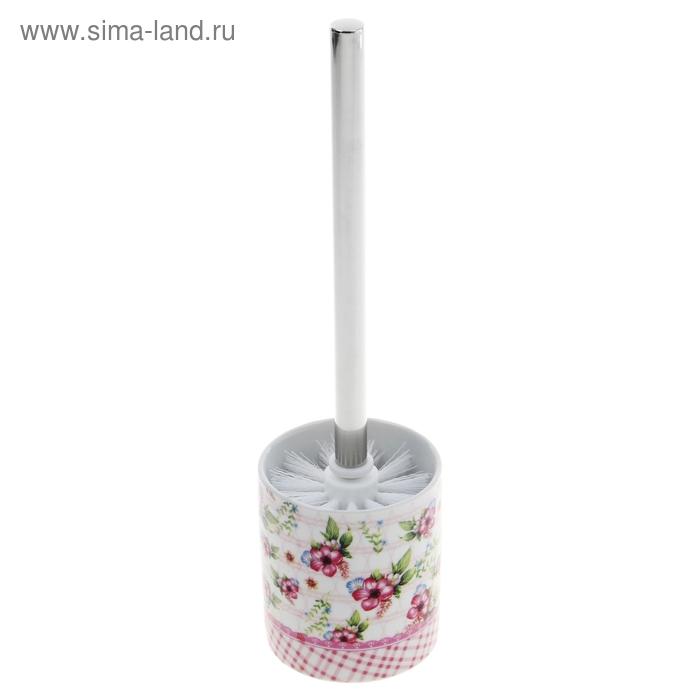 """Ерш для унитаза с подставкой """"Розовые цветы"""""""