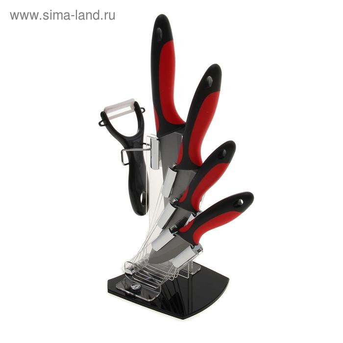 """Набор 5 предметов: 4 ножа 7.5/10,5/12,5/15 см, овощечистка на подставке """"Киоко"""""""