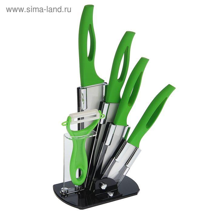 """Набор 5 предметов: 4 ножа 7,5/10/13/15 см, овощечистка на подставке """"Стиль"""", зеленый"""
