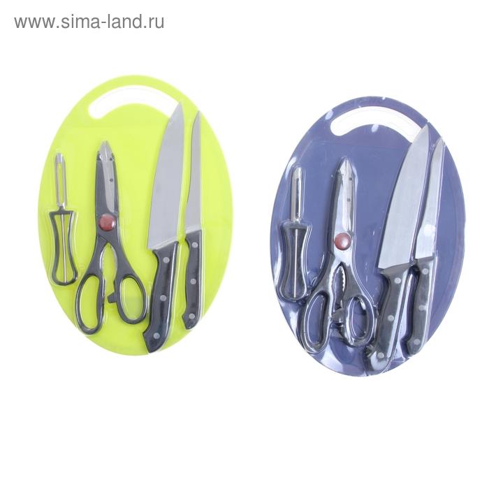 Набор кухонный, 5 предметов: 2 ножа 15,5/8 см, овощечистка, ножницы, доска 32х21 см, цвета МИКС