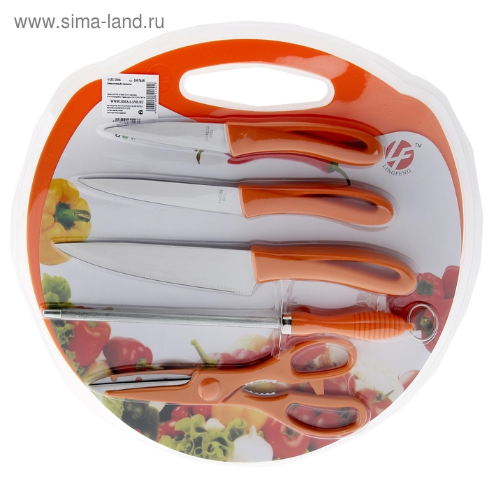 Набор кухонных предметов, 6 шт: 3 ножа 14,5/11,5/8,5 см, доска d=30 см, ножеточка, ножницы, цвета МИКС