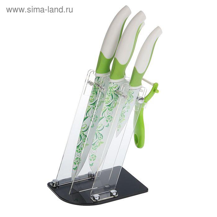 "Набор ножей на подставке ""Комфорт"", 5 предметов: 4 ножа 20,5/17,5/12,5/9,5 см, овощечистка, цвет МИКС"