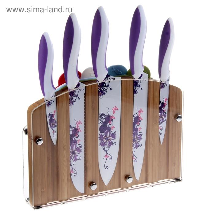 """Набор 9 предметов: 5 ножей 22,5/20/20/20/12,5/9 см, 4 доски на подставке """"Истрия"""""""