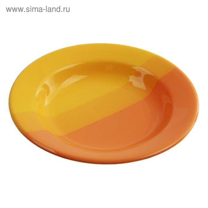 Тарелка глубокая d=22 см, цвет желто-оранжевый