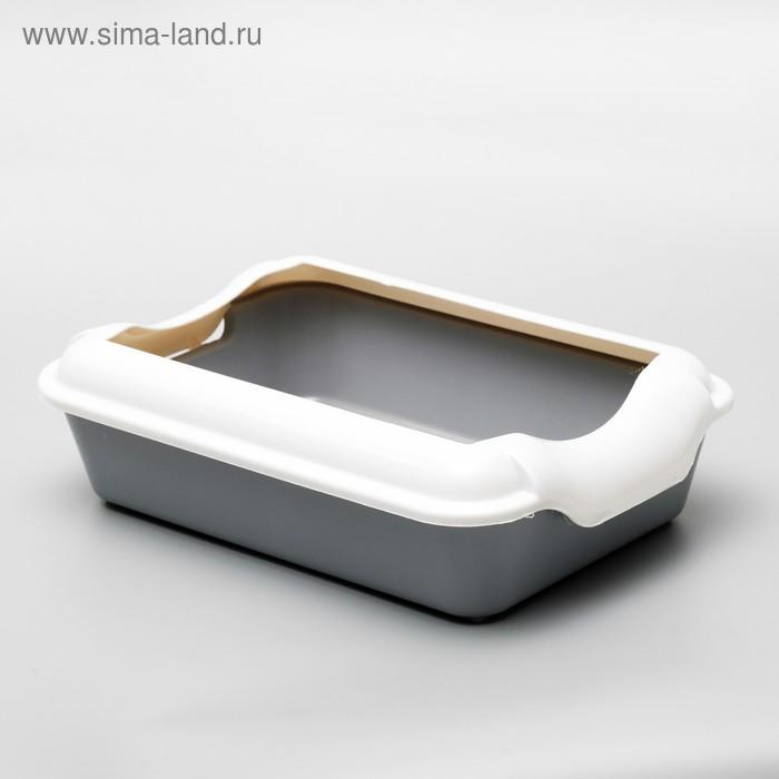 Туалет с бортом, 40 × 25 × 15 см, серый