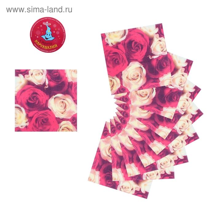 """Салфетки бумажные (набор 20 шт) 33*33 см """"Букет алых роз"""""""