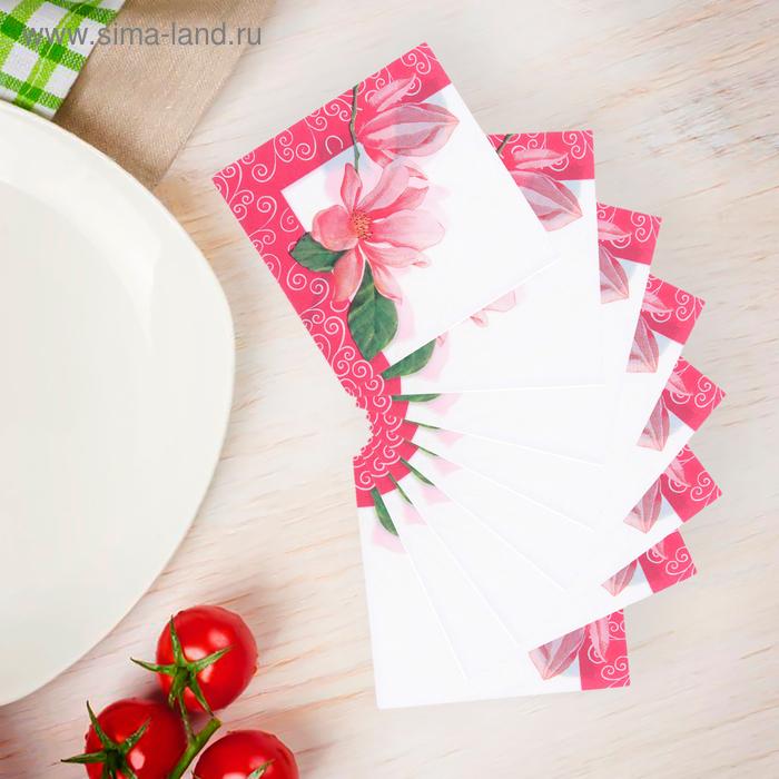 """Салфетки бумажные (набор 20 шт) 33*33 см """"Цветок в красной раме"""""""
