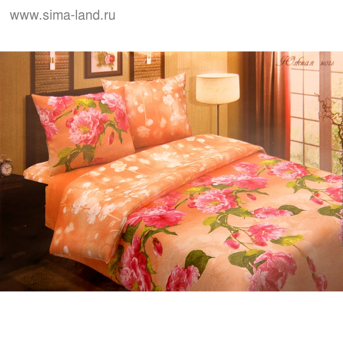 "Постельное бельё Pastel ""Южная ночь"", цвет розовый, дуэт, размер 147х217 см - 2 шт., 220х240 см, 70х70 см - 2 шт., поплин, 110 г/м2"