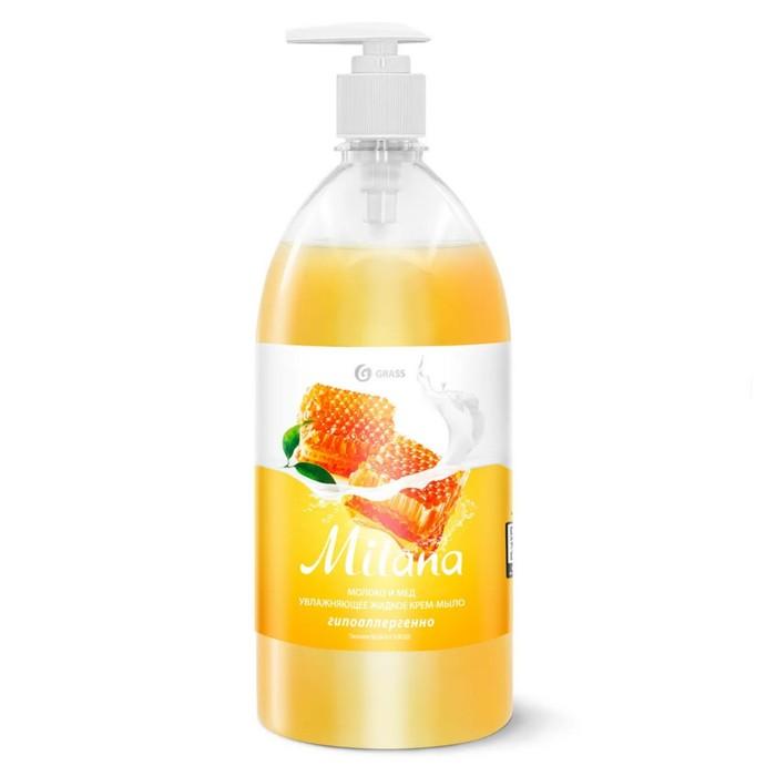 Жидкое крем-мыло Milana молоко и мед с дозатором 1л