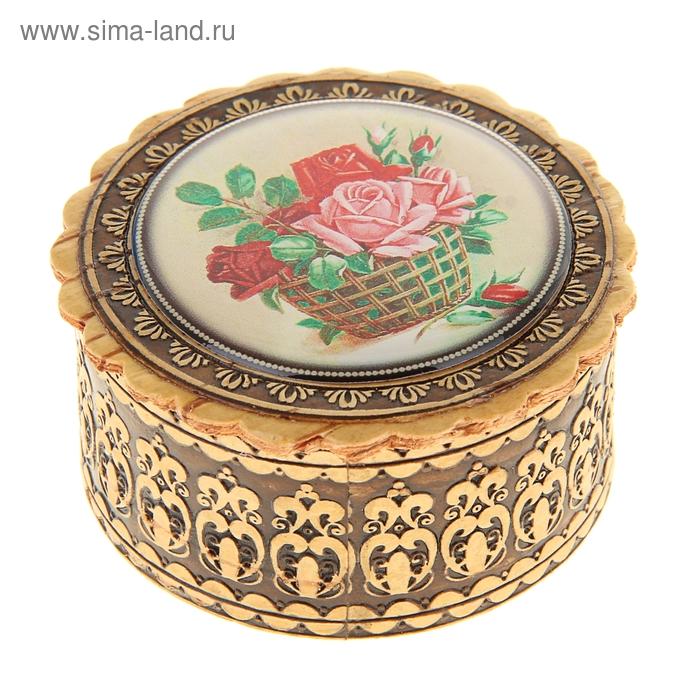 Шкатулка «Корзина с розами», 4,5х30 см, береста