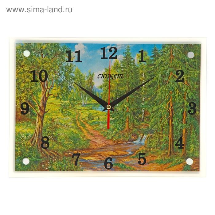 """Часы настенные прямоугольные """"Лесная дорога"""", 25х35 см"""