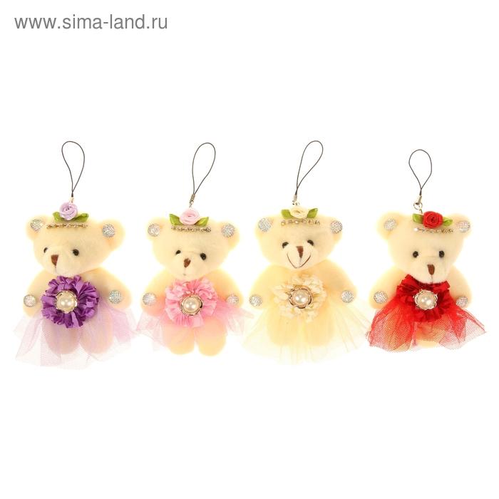 """Мягкая игрушка-подвеска """"Мишка"""", капроновая юбочка с цветком, цвета МИКС"""