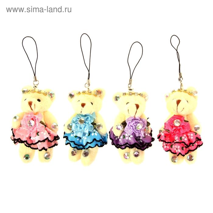 """Мягкая игрушка-подвеска """"Мишка"""", платье с цветами, цвета МИКС"""