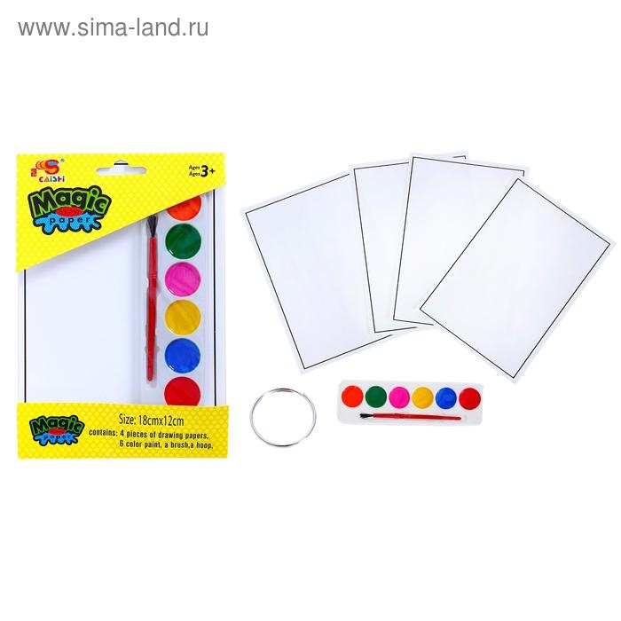 Раскраска-невидимка: 4 картинки, краски 6 цветов, кисточка, кольцо