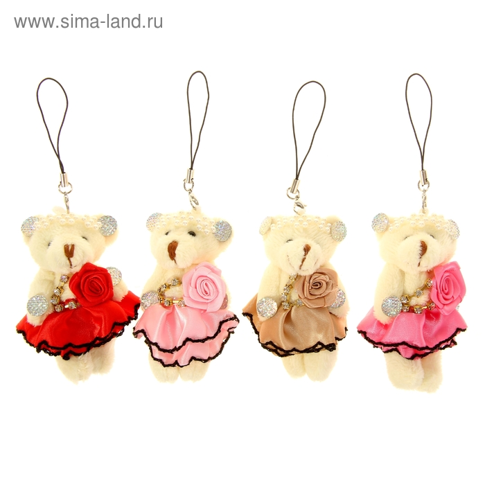 """Мягкая игрушка-подвеска """"Мишка"""", юбочка с розой, цвета МИКС"""
