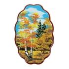 """Картина """"Осень"""" Фанера овальная большая №3-1 20х30,5х10 см каменная крошка"""