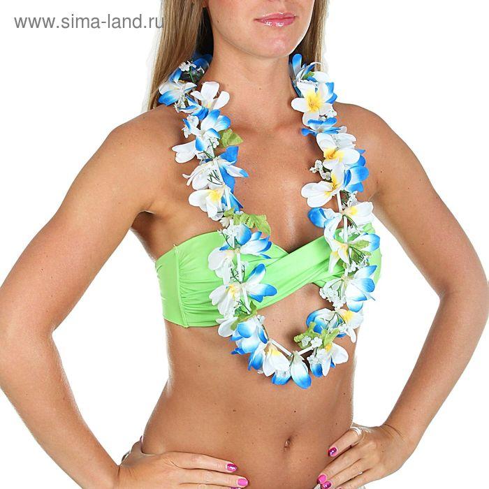 """Гавайское ожерелье """"Ромашки"""", лепестки сине-белые"""