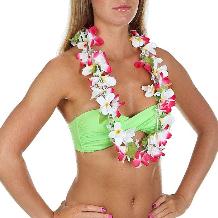 """Гавайское ожерелье """"Ромашки"""", лепестки бело-розовые"""